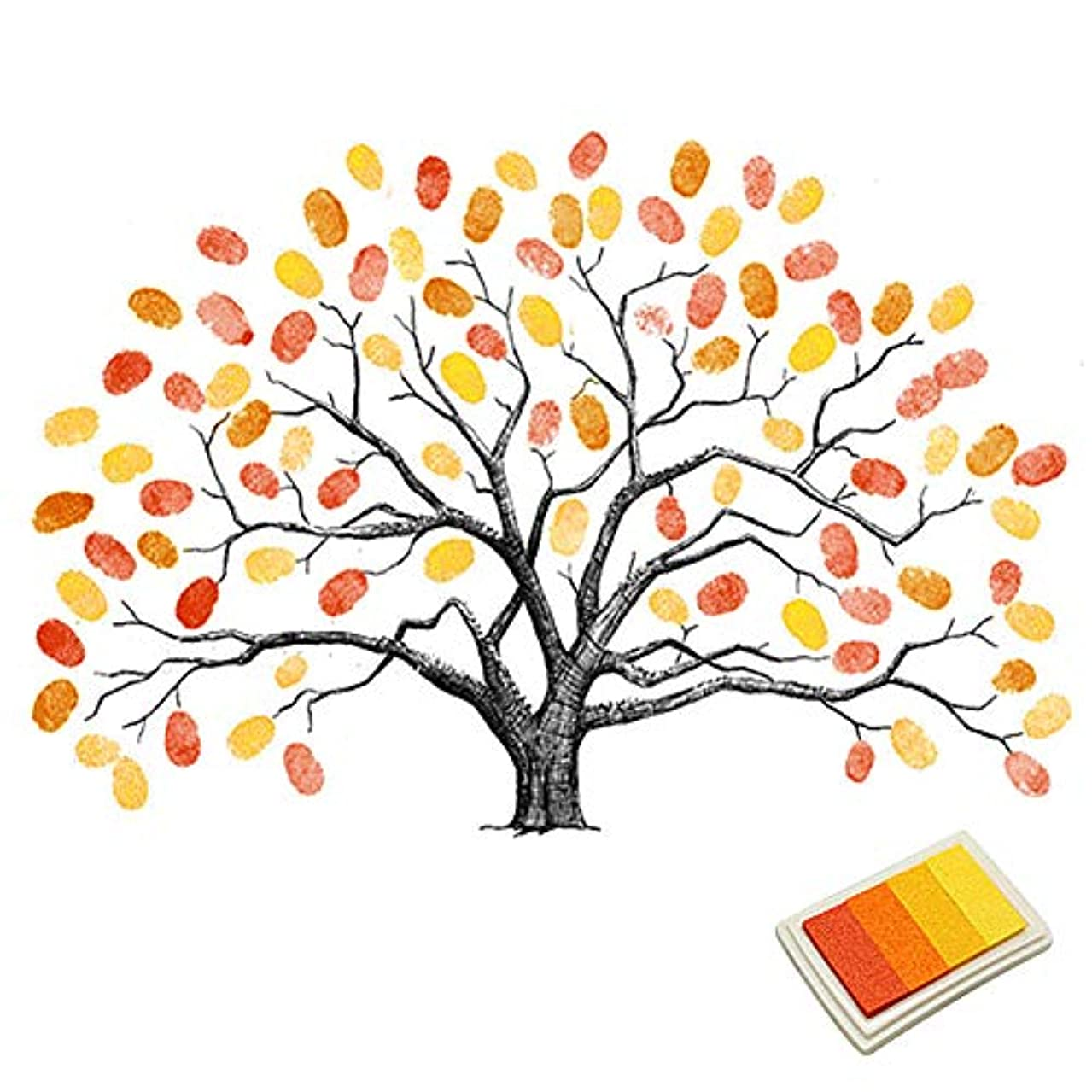 Fingerprints Tree, Proboths Creative Wedding Guest Signature Sign-in Book Canvas Ballons Tree Fingerprints Painting Decor for Wedding Party with 4pcs Ink Pads Yellow
