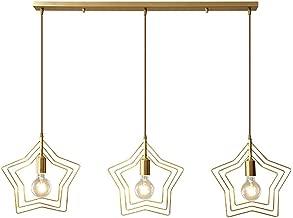 Modern Pendant Lighting, Nordic Star Ceiling Hanging Light Fixture, Cord Adjustable Brass Pendant Lamp for Entrance, Dining Room, Bar,3lights