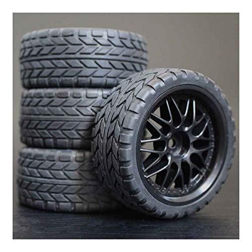 Huanruobaihuo Neumáticos 4pcs RC 1/10 Ruedas de plástico de 26 mm de Espuma de inserción for en el Coche Camino de HSP HPI Piezas de Repuesto 1013 (Color : 6017)