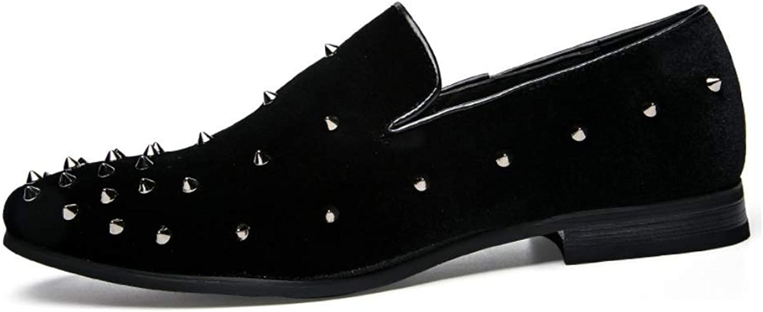 MON5F HOME Men's Rivet Pointed Single Leather shoes European And American Style Nightclub Tide shoes Popula Rmen's shoes British Leather shoes Pointed shoes (color   Black, Size   40)