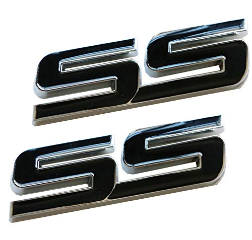 2x 3D Metal Tilt SS Emblems Trunk Door Fender Bumper Badge Decal 3D Allloy Sticker Replacement for Chevy IMPALA COBALT Camaro (Black)