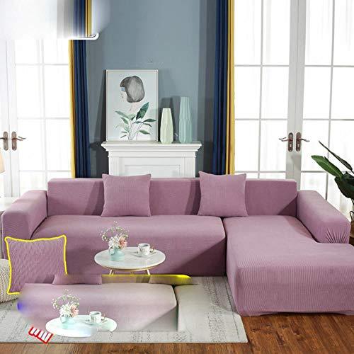 KKDIY Funda de sofá de Terciopelo de Felpa en Forma de L para Sala de Estar Muebles elásticos Funda de sofá Chaise Longue Funda de sofá Stretch-7,3-seater190-230cm1pc