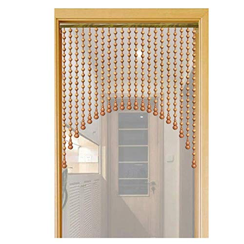 JFFFFWI Beaded Curtain Natural Wooden Beads Door String For Doorway Closet Passage Screen Panel Breathable, Width 60-160CM, Customizable (Color : A, Size : 120x80CM-31 Strands)