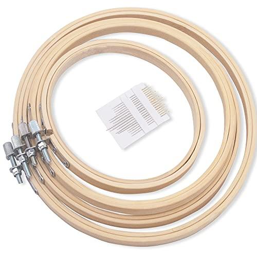 LAMXD 4 Größen runder Stickrahmen Set Bambus Kreis Kreuzstich Hoop Ringe für DIY Handwerk Nähen