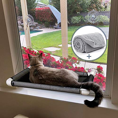 Lcybem Cat Window Perch - Cat Hammocks for Window with Plush Pad, Space Saving Cat Bed, Pet Resting Seat Safety Holds Two Large Cats, Providing All Around 360° Sunbathe for Indoor
