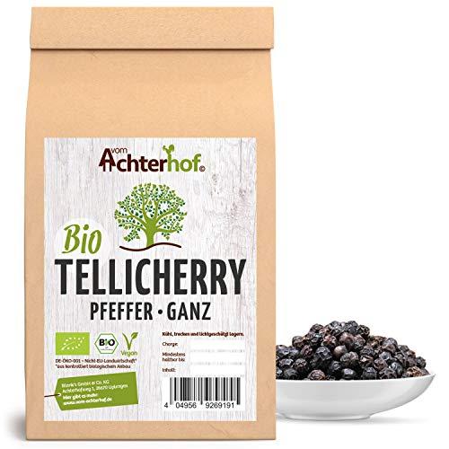 Tellicherry Pfeffer Bio (250g) ganz schwarz vom Achterhof (1. Sorte TGSEB) Auslese Pfefferkörner aus Indien