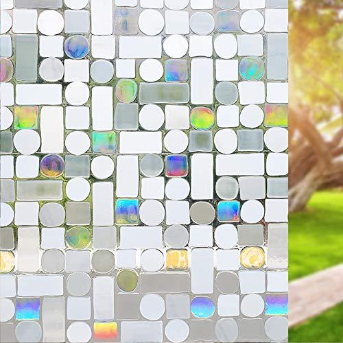 ZQ&QY Vidrio Manchado Esmerilado Ventana Privacidad Película,Sin Pegamento Estático Adhesiva Vinilo Película,Bloqueo UV Reutilizable Decorativo 3D Pegatina para Ventana