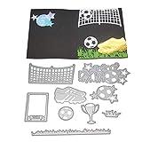 zmigrapddn Stanzformen,Fußball Sneaker Bowl Design Stanzmaschine Stanzschablonen für die Erstellung von Scrapbook-Karten Paper Craft,Metall