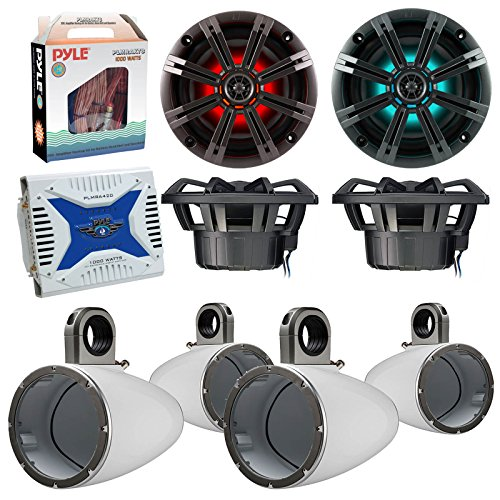 "4 x Kicker 41KM654LCW 6.5"" Boat Coaxial LED White Speaker Package + 4 Kicker 12KMTESW Marine White Tower Enclosure + Waterproof Bluetooth Amplifier with Amp Installation Kit"
