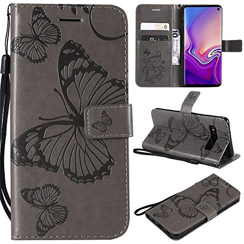 Capa carteira P20 lite 2019 em relevo 3D borboleta PU couro flip capa para celular Huawei Nova 5i - cinza