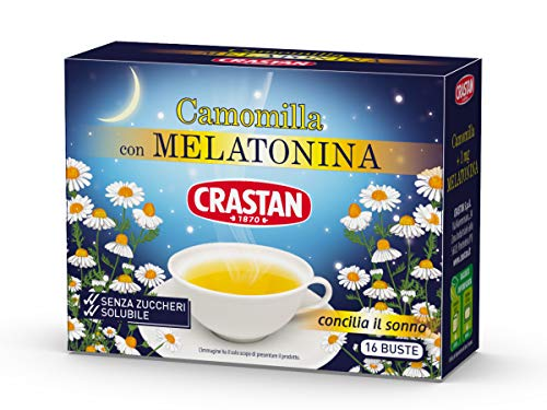 Crastan Camomilla Solubile con Melatonina, senza Zuccheri Aggiunti, 16 Bustine, 64 G