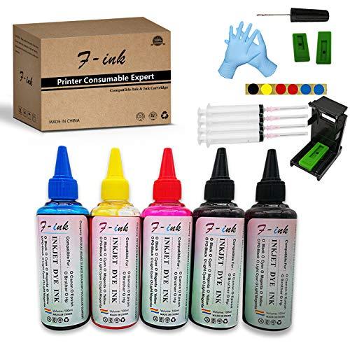 F-ink - Kit di ricarica per inchiostro con bottigliette di ricarica da 5 x 100 ml, compatibile con cartucce d'inchiostro Hp 304 302 650 62 652 300 301 304XL 652XL 300XL 650XL 302XL 62XL 301XL