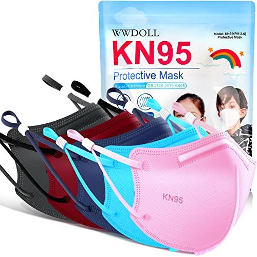 WWDOLL KN95 Face Masks for Kids 50 Pack, Multicolor Color Children's Disposable Face Masks with Adjustable Earhooks