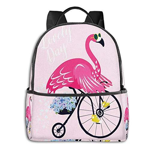 SGSKJ Mochila Tipo Casual Mochila Escolares Mochilas Escolar Estilo Impermeable para Viaje de Ordenador Portátil para Hombre Mujer Flamingo Gafas de Sol Pájaro Bicicleta