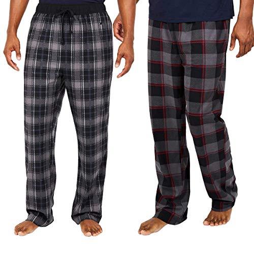 Nautica Men's Sueded Fleece Pajama Pants 2 Pack (L, Grey)