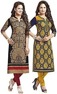 Jevi Prints Women's Cotton Printed Unstitched Kurti Material (Saheli-1204-1216, Black and Blue, Free Size) Pack of 2