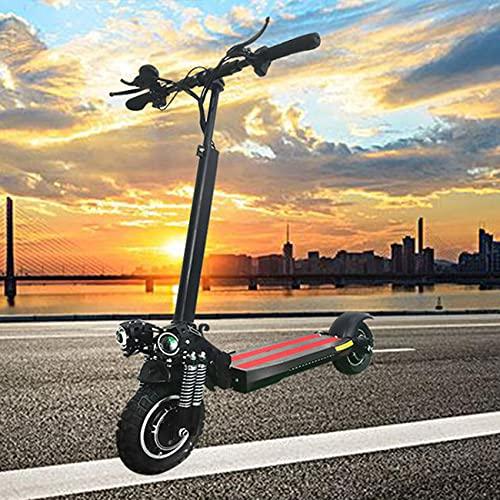SAFGH Scooter eléctrico portátil de Doble accionamiento, decoración de Flash, Cuerpo de aleación de Aluminio Delantero y Trasero, 2 Faros LED, Scooter eléctrico Plegable