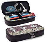 Pencil Case Big Capacity Storage Holder Desk Pen Pencil Marker Stationery Organizer Pencil Pouch with Zipper,Dance Themed Image Of Sketchy Drawing Of Ballerinas On Stage
