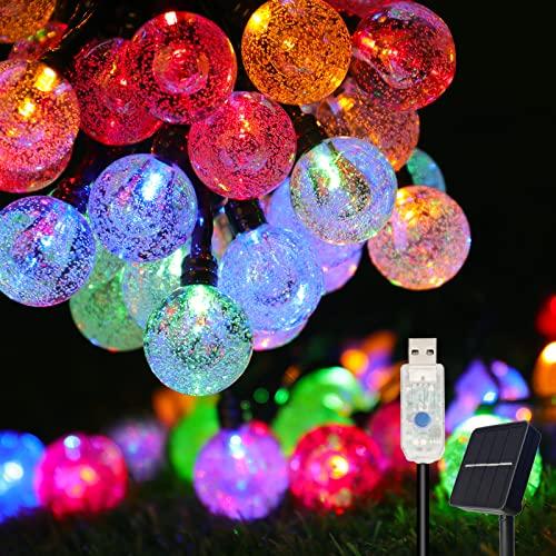 Solar lichterkette aussen, COOLAPA außen solar lichterkette, Lichterkette mit 50er LED Kristallkugeln 8 meter garten lichterkette außen für...