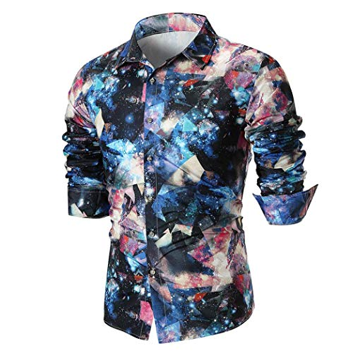 MRULIC Herren Shirt Kentkragen Langarm Shirts Businesshemd Freizeithemd Oktoberfest Karnevals kostüm(A-Blau,EU-48/CN-XL)