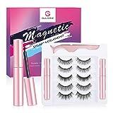 GULANNE Magnetic Eyelashes with Eyeliner Kit, 5 Pairs Natural Look Magnetic Lashes, Eyelashes with 2 Sets Magnetic Eyeliner- NO Glue