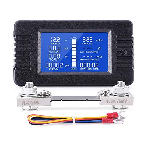MICTUNING Pantalla LCD Medidor de Monitor de Batería DC 0-200V Voltímetro Amperímetro para Coche, Sistema Solar RV