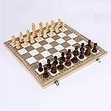 DJRH Juego de ajedrez Internacional de Madera, Tablero de ajedrez de Espacio de Almacenamiento Interior Grande Plegable, Tablero de ajedrez de Madera con Grano Fino bellamente Hecho para niños
