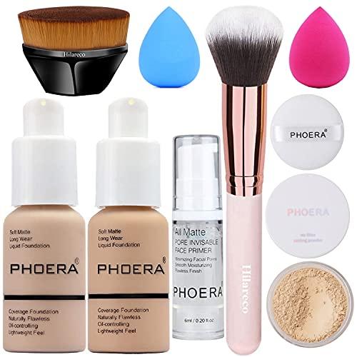 PHOERA Foundation,Full Coverage Foundation,PHOERA Primer,PHOERA Powder,PHOERA Makeup Set,Kabuki Makeup Brushes Foundation Brush Powder Brush,2 Makeup Sponge (Nude #102 + Buff Beige #104)