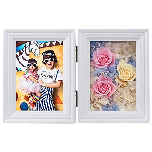 Fotolijst met Bewaarde Rose, Onsterfelijke Bloem fotolijst, Eeuwige Bloem Cadeau voor Valentijnsdag, Kerstmis, Jubileum, Verjaardag (Wit, 9x13cm)