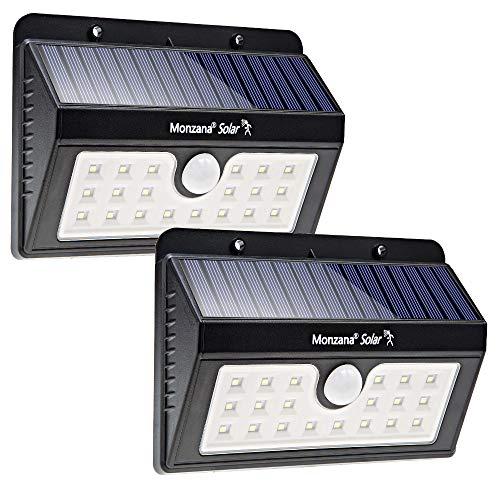 2x monzana LED Solar Wandleuchte mit Bewegungsmelder I Außen I 20 LED\'s I 4 verschiedene Modi I Weitwinkel I Wasserdicht I