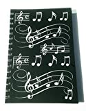 Little Snoring Gifts: A5 Hardback Spiral Bound Notebook ? Black With White Musical Notes