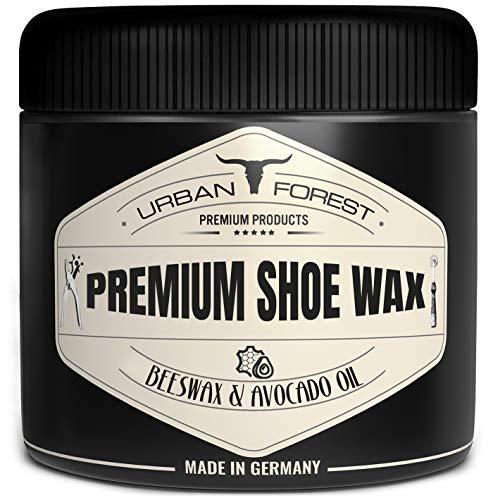 Schuhcreme Schuhwachs für Leder, farblos mit Bienenwachs & Avocado-Öl | professionelle Schuhpflege & Lederpflege | Schuhreinigung & Schuhe pflegen mit Premium Shoe Wax von URBAN Forest 250 ml