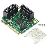 Honglei Gelrhonr Mini PCIe a SATA III 2 Puertos Tarjeta Adaptadora, Tarjeta Mini PCI Express a SATA 3.0 6Gbps Tarjeta de Expansión de Disco Duro para Disco Duro SSD