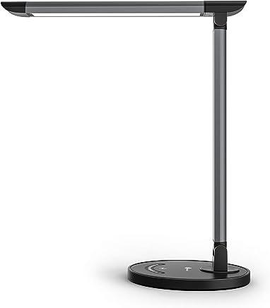 Lampada da Scrivania LED TaoTronics, Lampada da Tavolo12W, Porta di Ricarica USB per Smartphone, 7 livelli Dimmerabili, 5 Modalità graduali di Colore, Touch Control, Luce gradevole per Occhi, Grigio