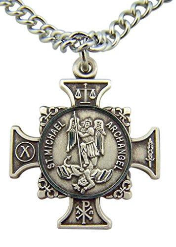HMHReligiousMfg Quis Et Dues Saint Michael Cross 7/8 Inch Sterling Silver Medal