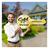 SPEEDYORDERS Sold Sign Real Estate Agent Gifts 23' x11' Gold Giant Key Prop Photobooth Sign Prop Custom House Key Prop Marketing Supplies Sold by Sign Realtor Prop Closing Gifts for New Homeowners