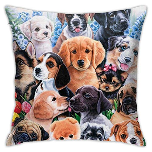 ETHAICO Decorative Plush Bed Throw Pillow Case,Puppy Collage, Comfortable Couch Cushion Cover, 18'x18'