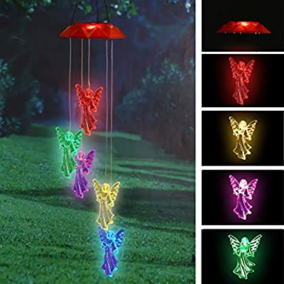 TZSSP Wind Chime Solar Chimes Changing Color Solar Waterproof Wind Bell Light for Home Party Night Garden Patio Decoration,Angel