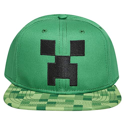 Boys Minecraft Creeper Face Hat - Black and Green Minecraft Youth Snap Back Hat (Minecraft)