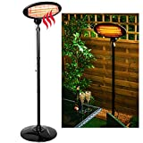 LIVIVO 2KW Outdoor Free Standing Quartz Electric Garden Patio Heater 2000w Waterproof- 3 Power Settings - Adjustable Heat Angle and Height Adjustable Stand