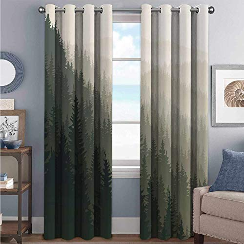 Forest Shading - Cortina aislante para sala de estar o dormitorio (72 x 72 cm), color verde oscuro