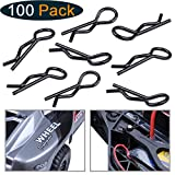 HobbyPark RC Body Clips Bent Springy R Pins Bent Black for All 1/8 Scale & Traxxas 1/10 Car Truck Crawler Buggy Drift Touring Shell Replacement(100-Pack)