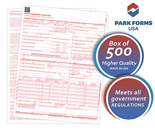 """Park Forms HCFA CMS 1500 Claim Forms (Version 02/12), Medical Insurance, 8-1/2"""" X 11"""" - 500 Sheets"""