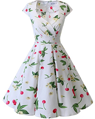 bbonlinedress 1950er Vintage Retro Cocktailkleid Rockabilly V-Ausschnitt Faltenrock White Small Cherry S