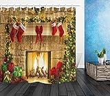 LB Weihnachten Duschvorhang Kamin,Rote Weihnachtssocke,grüner Baum Bad Vorhänge 180X200cm Polyester Extra Lang Wasserdicht Anti Schimmel Badezimmer Deko Heimzubehör mit Vorhanghaken
