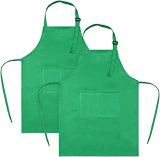 SINLAND Kids Apron with Pocket 2 Pack Children Chef Apron for Cooking Baking Painting (S: 3-6 Years)