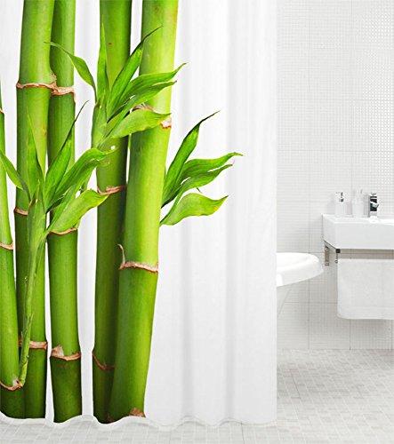 Duschvorhang Bambus 180 x 200 cm, hochwertige Qualität, 100prozent Polyester, wasserdicht, Anti-Schimmel-Effekt, inkl. 12 Duschvorhangringe