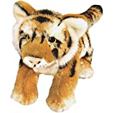 Bauer Spielwaren 'Blickfänger' Jaquard Tiger liegend Plüschtier: Naturgetreues Kuscheltier, extraweich, ideal auch als Geschenk, 23 cm, braun-schwarz (14146)