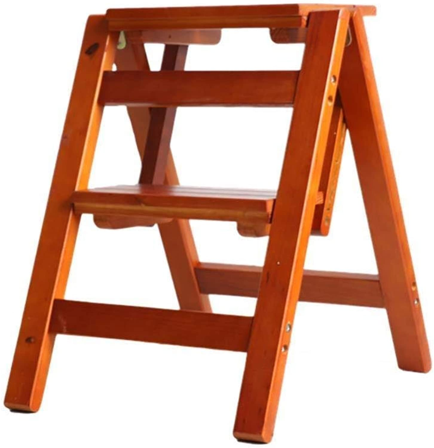 Step Stool 2 Steps Folding Ladder Stool Multifunction Ladder Dual Purpose Household Staircase Solid Wood Step Stool ladders Step Stool (color   Brown)