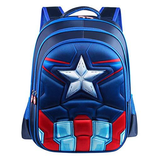 Sac à Dos Enfant Yuan Ou Garçon Superman Batman Spider-Man Captain America Cartable de Maternelle pour Enfants 34 * 25 * 13cm Bleu Captain S